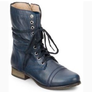 Steve Madden Troopa denim leather combat boots